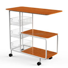 metal wood kitchen moveable food trolley cart
