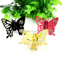 Popular girls butterfly hair clips hot sale bead butterfly hair clips
