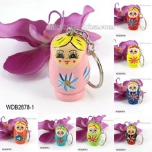 Promotion Custom Wooden Russia Doll Key Chain