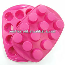 Wholesale 12 holes big silicone cake baking oven palm kernel cake mold, cooki cake mould