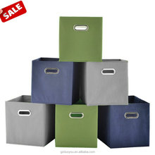 Fabric Foldable Double Mental Handle Cloth Fabric Drawers Cubes , Multiple-color Baskets Containers