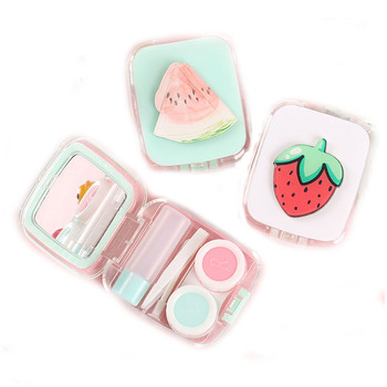 Beautiful new design lovely fruits pattern contact lens case with mirror