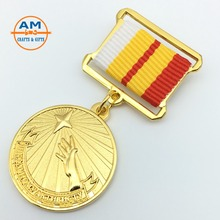 promotion top quality military metal badge medal emblem with ribbon bar