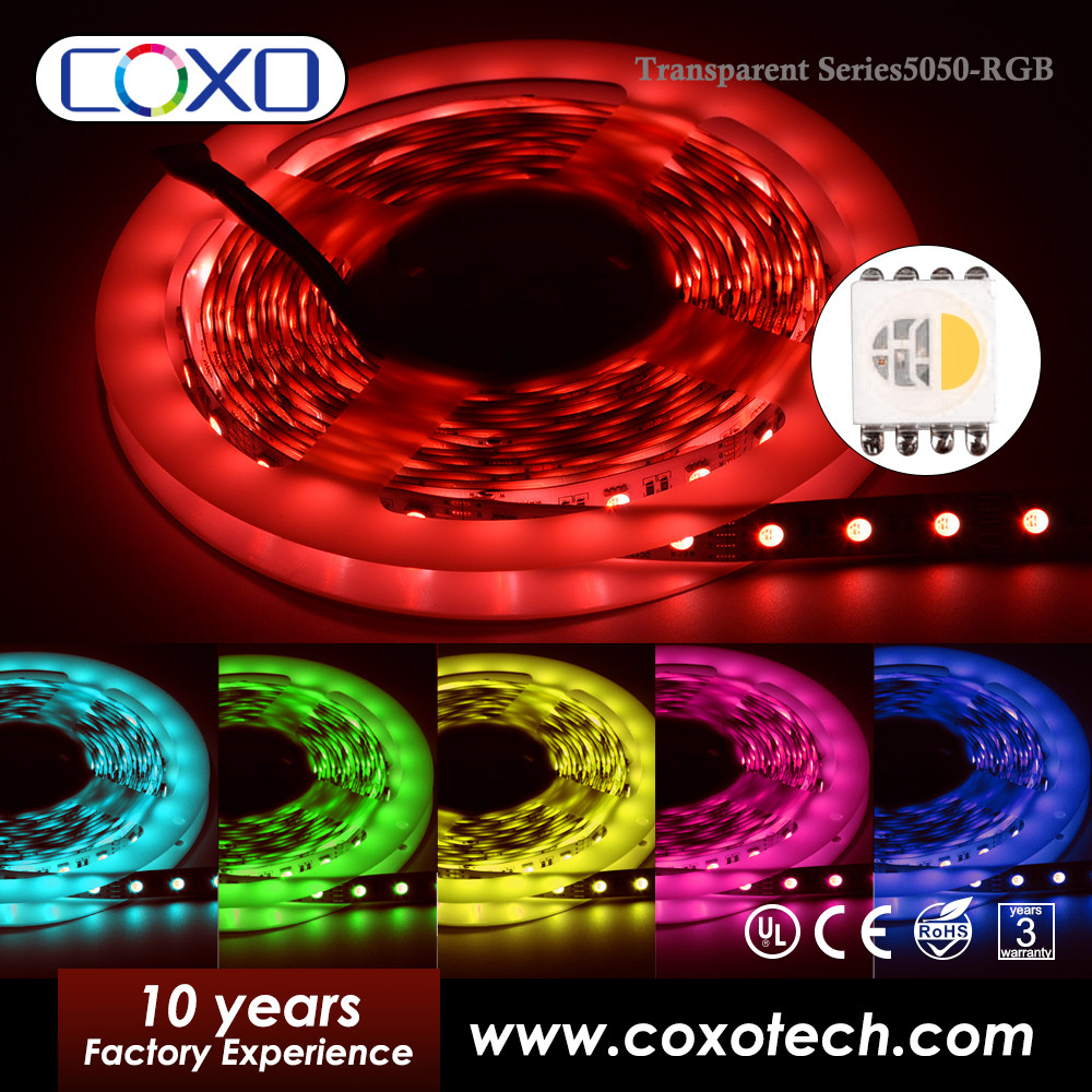 High Quality 12V Transparent SMD 5050 5mm PCB IP65 Waterproof RGB LED Light Strips