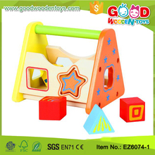 Customize Shape Sorter Wooden Toy Box Baby Toy Colorful Shape Sorter Wooden Block Building For Toddlers