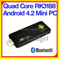 Quad Core RK3188 2G RAM Bluetooth WIFI Antenna Strong singal Mini PC Android 4.2 TV Dongle