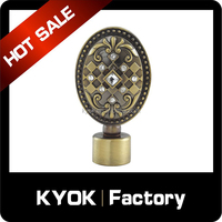 KYOK home decoration curtain pole finial, factory supply shower curtain rod end cap,curtain rod head wholesale
