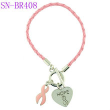 Hot Pink Leather Pink Ribbon And Hope Symbol Charms Breast Cancer Awareness Bracelet