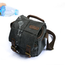Waterproof Canvas leather Trim DSLR SLR Shockproof Camera Shoulder Messenger Bag