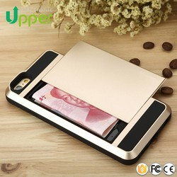 2016 China supplier Aluminum silicone cases with credit card slot credit card holder case for iphone 6 plus