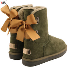 CF-238 Free Samples Satin Lace Up Bowknot Cow Suede Snow Boots For Ladies,Cute Winter Snow Boots For Women