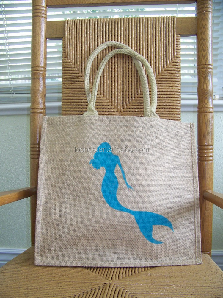 Personalized stenciled mermaid burlap beach travel bag for accessorize