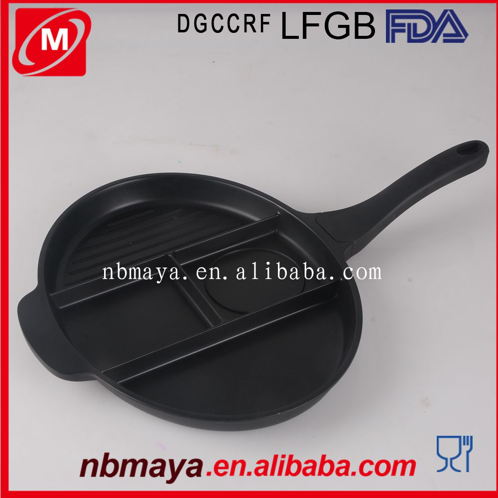 4 Sections Divided Non-stick Grill Master Frying Pan