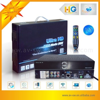 Cheap Hua Gang DVB ultra hd v3 support ATSC and jb200 module satellite receiver