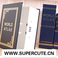 High quality and Easy to use world atlas book shape timed lock safe box
