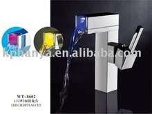 Deck mounted square LED basin faucets, taps with mixer hot and cold