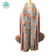 Long sleeve knitted cardigan sweater style winter women shawl with fur
