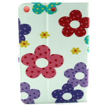New painted pu leather case with card slots for iPad mini 123, flip mobile phone case cartoon images leather for Ipad Mini 123