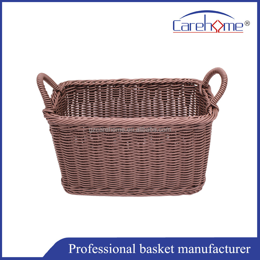 Washable plastic rattan baskets with handles,pp storage baskets
