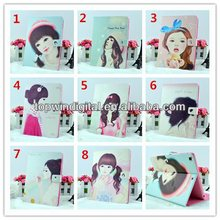 Hot Sale Pretty Girl Pattern Flip Leather PU Case For Ipad 2 3 4