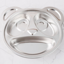 New 18/08 Stainless Steel Separate Dinner dish Child <strong>plate</strong> Cartoon shape Panda Dinner <strong>Plate</strong>
