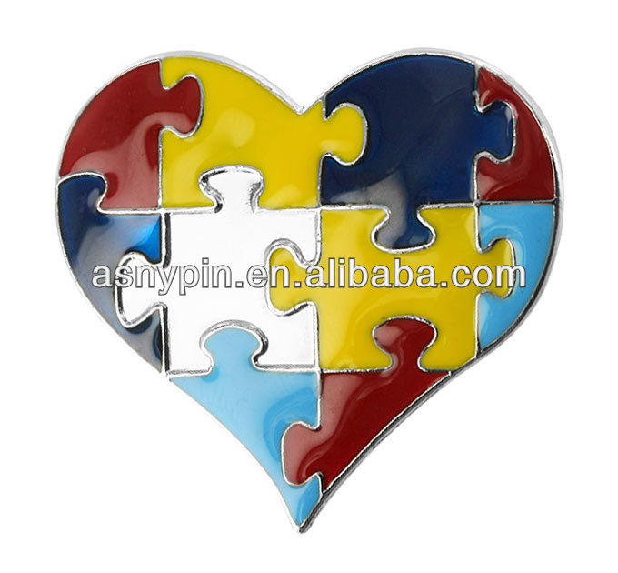 heart shaped puzzle piece enamel autism awareness pin