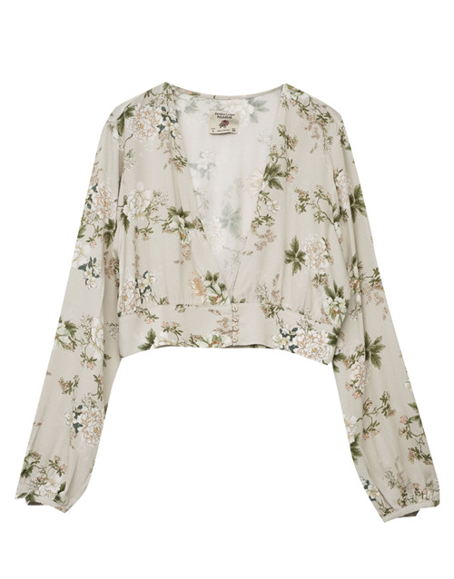 Chic flora print V neck sexy Dew navel long sleeve top China factory