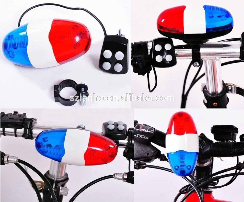 New Cycling Bike Super loud Bicycle 6 LED Electronic Horn Bell Siren 4 Sounds electric horn sound pressure horn sound