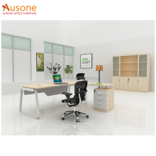 L Shaped Beige Stainless Steel Office Desk
