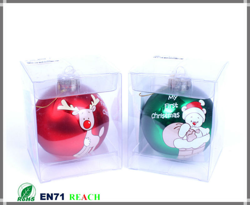 Christmas glass ball with pattern on stock