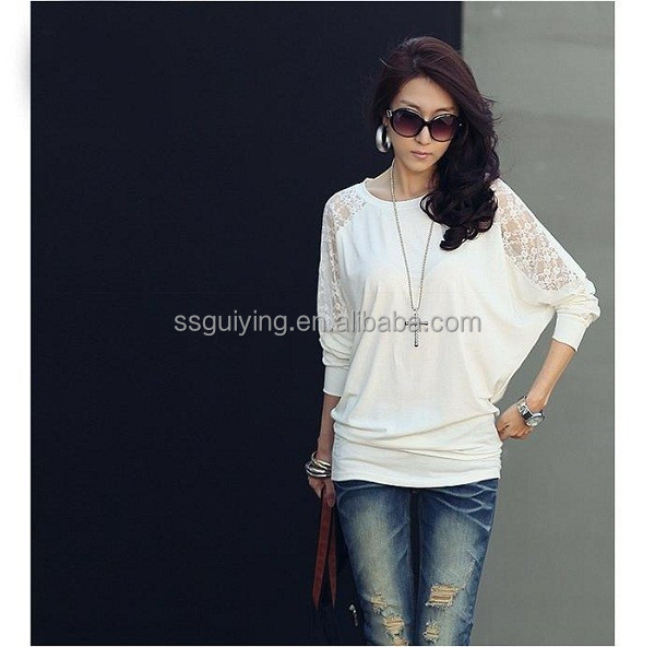 Korea Style Sweet Lace Long Sleeve Lady Womens T Shirt Tops Blouses
