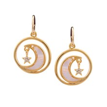 Alloy hanging crystal crescent moon earrings