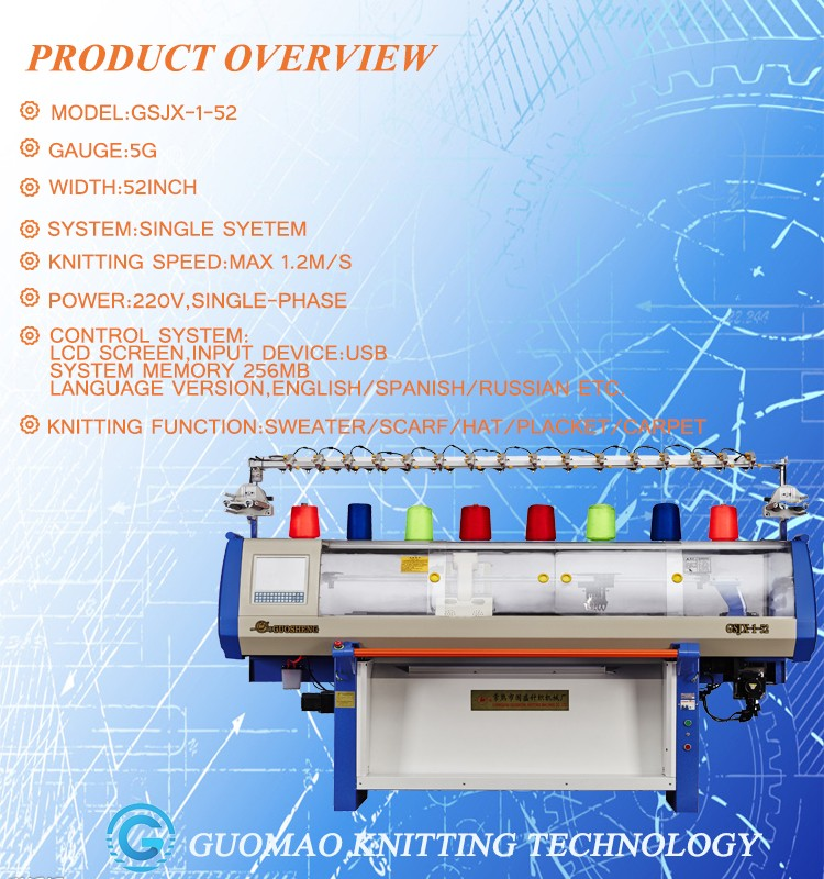 automatic cotton yarn scarf knitting machine with single system