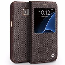 QIALINO Men's Wallet Grid Pattern Case Slim Luxurious Feel Leather Case W/ Window View For Samsung Galaxy S7/Edge Mobile Phone