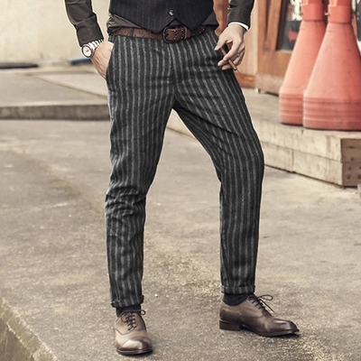 2017 New England Style Spring Men Slim Fit Straight Suit Pants Male Casual stripe Skinny design pants business Fashion trousers