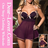Hot Women Sexy 2 Pieces Microfiber and Mesh Sex Xxx Baby Doll Wholesale