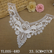crochet neck patch with fancy flower lace neckline