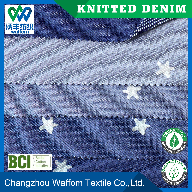 Spandex/Polyester / Cotton light blue twill knit denim fabric print star for dress