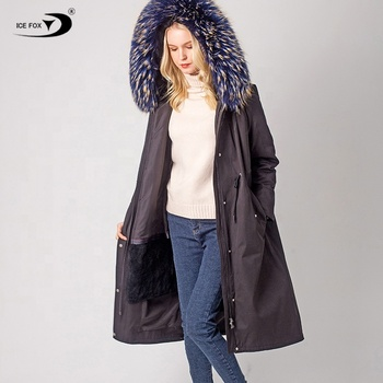 Super beautiful two-color raccoon fur collar long woman adjustable waist with fur lined hooded parka