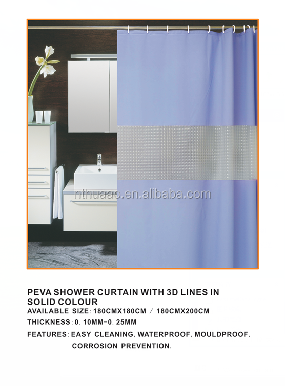 green hills and water pattern printed peva shower curtain hot sell