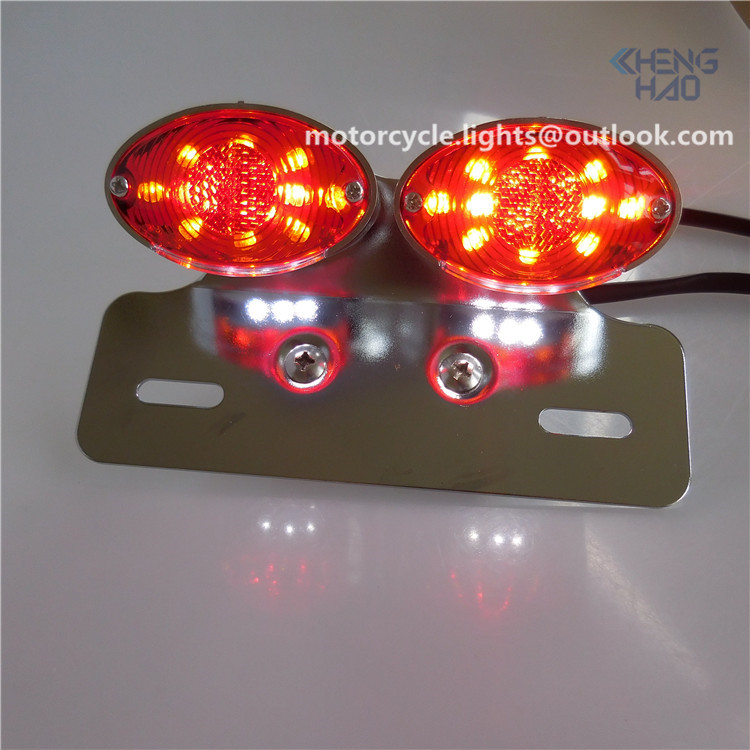 Chenghao cheap refit motorcycle parts double cateyes led tail light with Emark chrome led stop run turn license light for honda