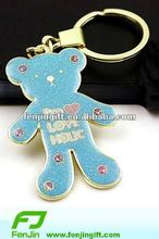 metallic teddy bear keychain