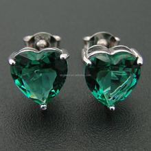 Newest Green Spinel Stud Heart Earring Green Stone Gemstone Jewelry DR01407149E