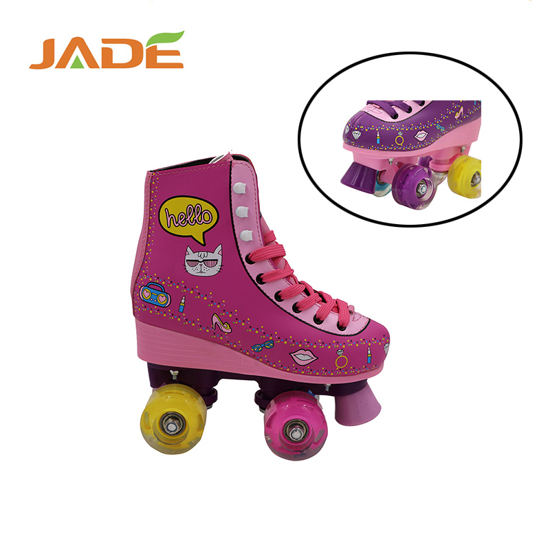 High quality 4 wheel quad roller skates Red /Customized quad roller skate with flashing wheels