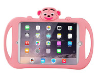 Hot Sale Monkey Silicone case for iPad mini 1/2/3,cute animal case for iPad,shock-proof silicone tablet case with kickstand