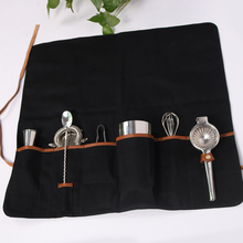 customized black roll up bartender tool bags with leather straps