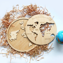 custom world map wood puzzle with factory price