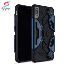 Saiboro 2in1 TPU+PC Game Crab Phone Case For iPhone X,Foldable Stand Phone Holder For Men
