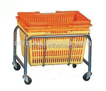 Factory Sale Supermarket High Quality Metal Basket Holder With 4 Wheels