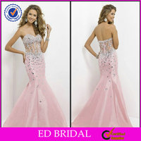 2014 Mermaid Taffeta Crystal Detailing Italian Design Pink Fishtail Evening Dress